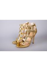 Босоножки женские плетеные золотого цвета Fabio di Luna 1