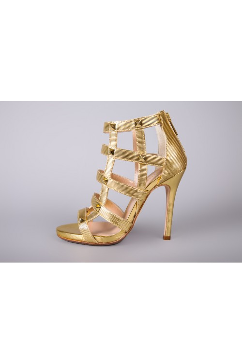Босоножки женские плетеные золотого цвета Fabio di Luna