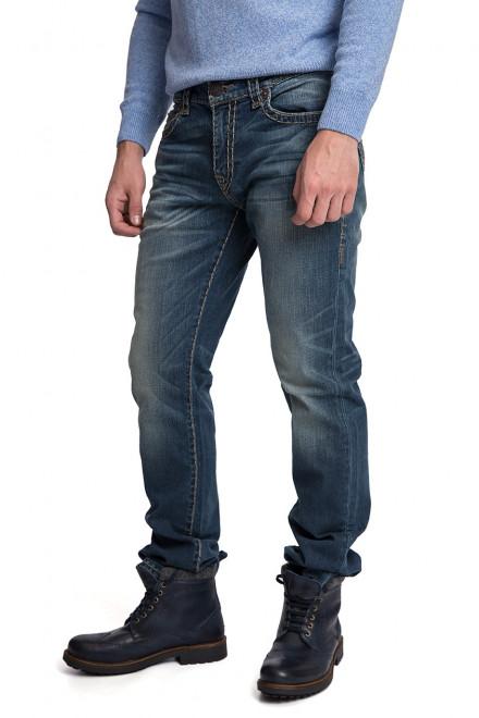 Джинсы мужские голубого цвета с потертостями и заломами True Religion