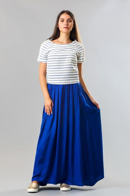 Топ женский с коротким рукавом в синию полоску на белом Kocca