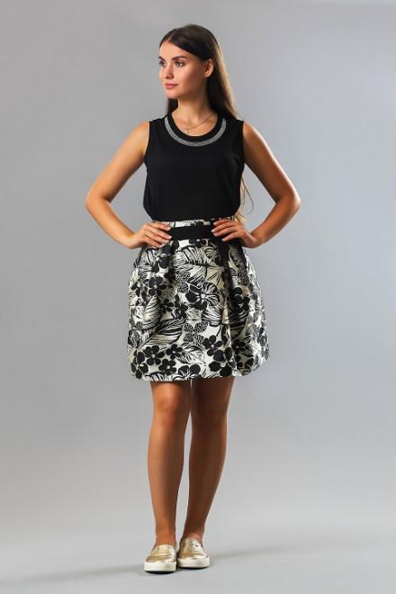Юбка женская пышная белого цвета с черными цветами Kocca