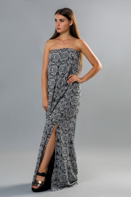 Платье без бретелей в пол свободного фасона с разрезом Kocca