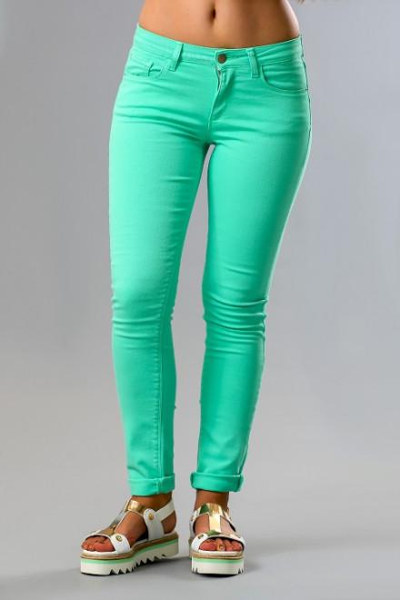 Джинсы женские узкие светло-зеленые Kocca