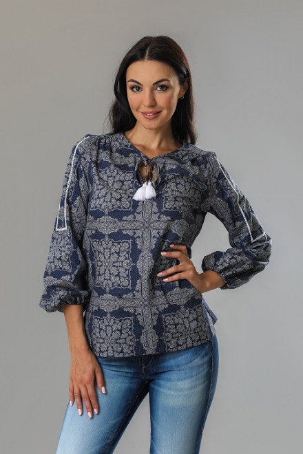 Блуза женская с рукавом-фонариком синяя van Laaсk