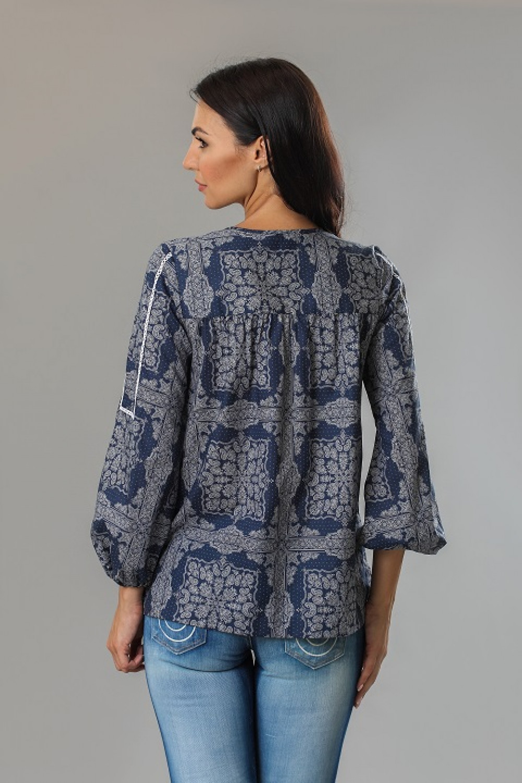 5ebc98d4e97 Блуза женская с рукавом-фонариком синяя van Laaсk