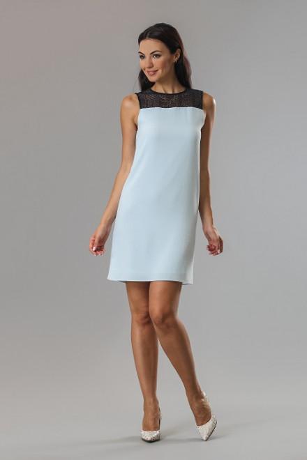 Платье женское без рукавов с кружевной вставкой светло-голубого цвета Axara