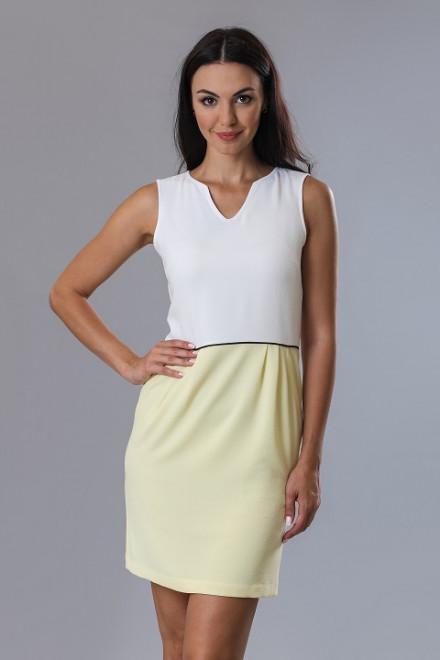 Платье женское без рукавов с белым лифом и желтой юбкой Axara