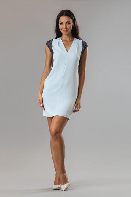 Платье женское мини с короткими рукавами светло-голубое Axara