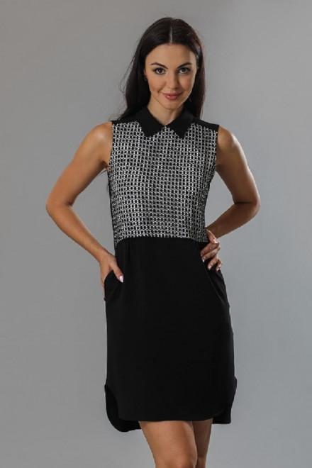 Платье женское без рукавов черное с контрастным лифом Axara