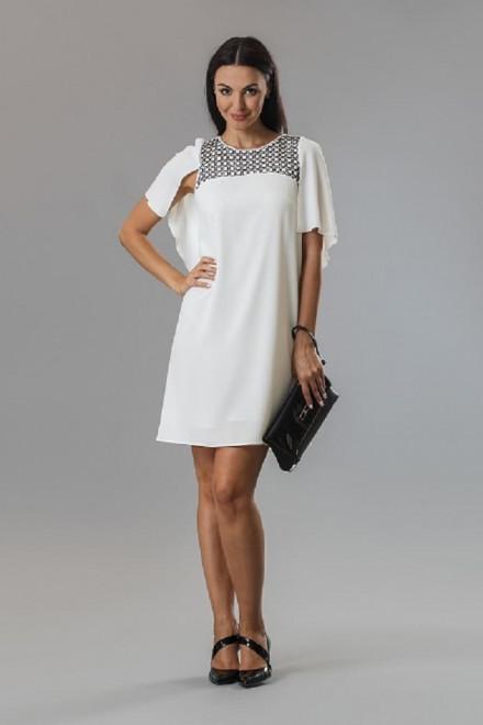 Платье женское мини с короткими рукавами  белого цвета Axara