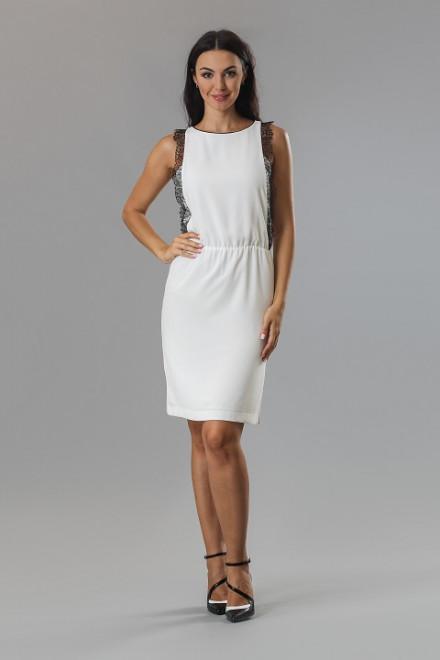 Платье женское без рукавов белого цвета с черными рюшами Axara