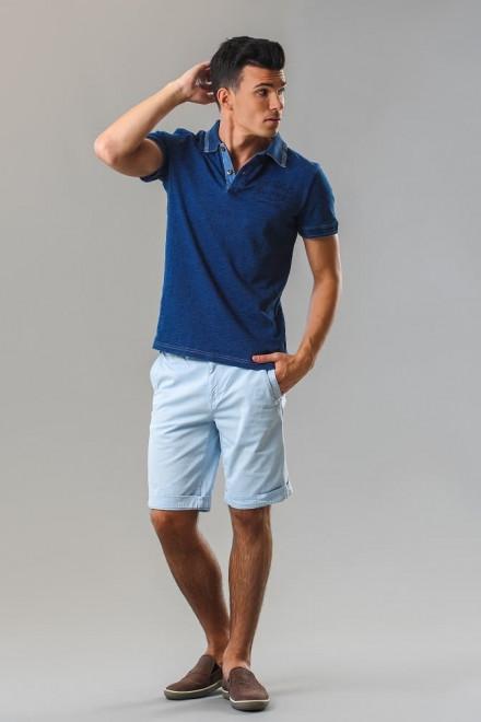 Футболка-поло мужская синего цвета с контрастным воротником  Fred Mello