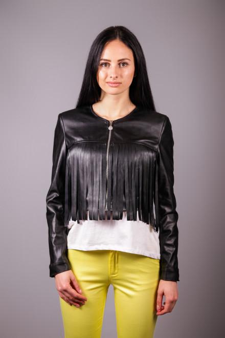 Куртка женская черная из эко кожи укороченная с бахромой Maison Espin