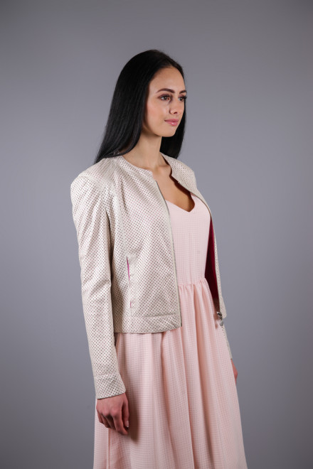 Куртка женская светло-бежевая короткая на молнии из эко кожи Maison Espin