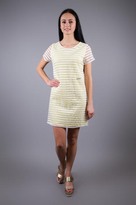 Платье женское мини с коротким рукавом желтое в белую полоску Maison Espin