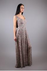 Платье без рукавов женское длинное с разрезом спереди кофейного цвета Maison Espin