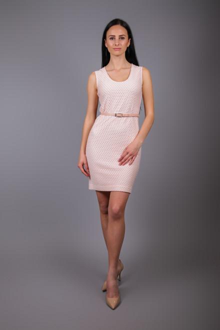 Платье женское (футляр) пудровое приталенное без руквов St.Emile.