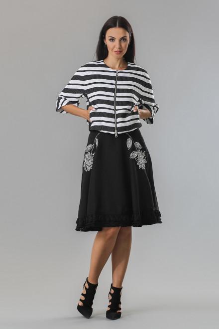Юбка женская пышная с цветочной вышивкой и бахромой по краю черного цвета Beatrice b