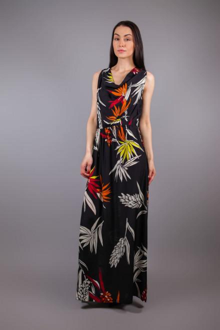 Платье длинное без рукавов черного цвета в цветочный принт Beatrice b