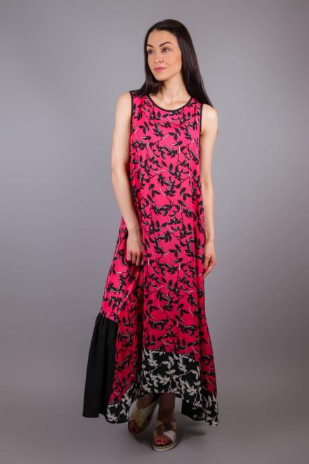 Платье женское без рукавов макси с оборкой розового цвета с черным растительным принтом Beatrice b