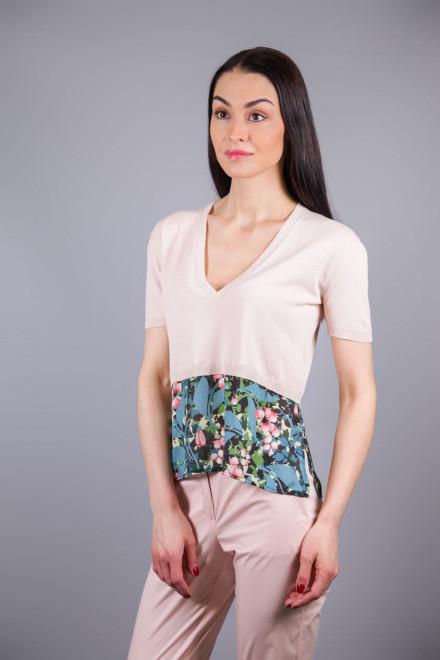 Пуловер женский светло-розовый с тканевыми вставками по подолу Beatrice b