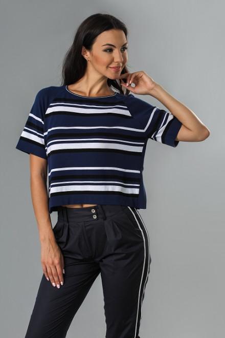Пуловер женский с коротким рукавом синего цвета в полоску Beatrice b