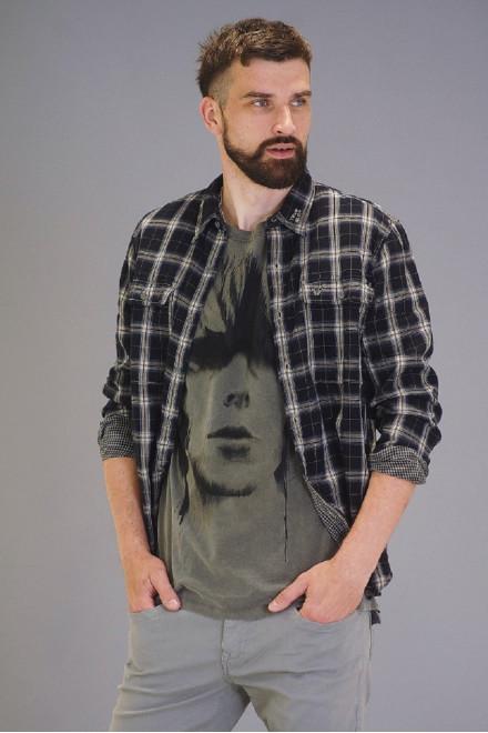Рубашка мужская черная в белую клетку True Religion