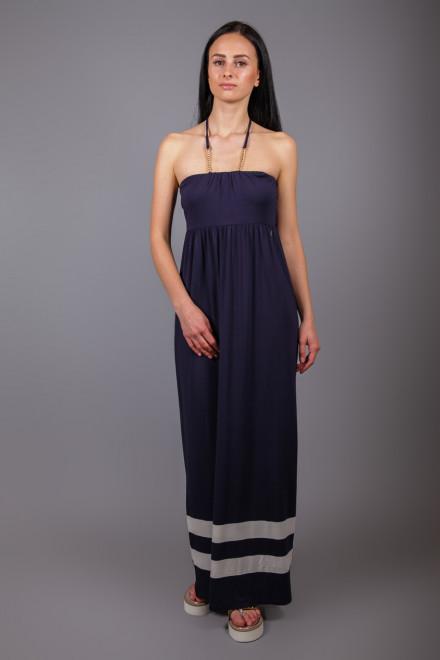 Платье женское длинное в пол на тонких бретелях синего цвета Marina Yachting