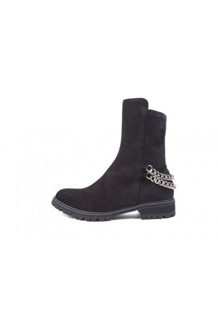 Ботинки женские замшевые черного цвета Fabio di Luna
