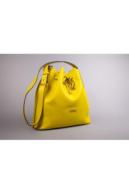 Сумка-рюкзак женская кожаная желтого цвета Giudi