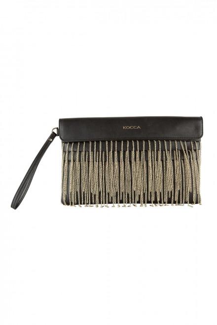 Сумка-клатч женская черного цвета из экокожи с металлическими цепями Kocca