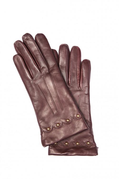 Перчатки женские кожаные бордового цвета с металлическими украшениями Sermoneta Gloves