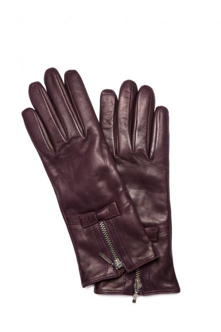 Перчатки женские бордового цвета с молнией и бантом Sermoneta Gloves