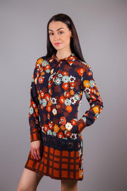Блуза-туника женская с цветочным и геометрическим принтом коричневая Sfizio