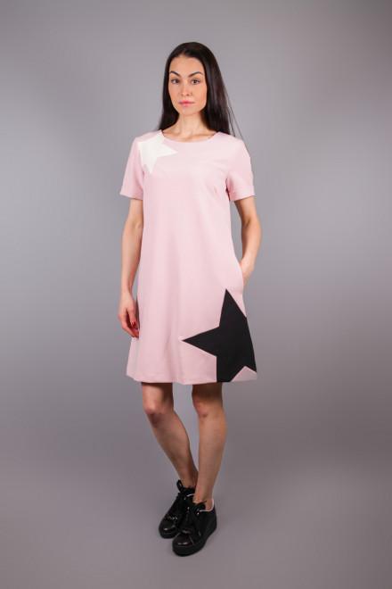 Платье женское с короткими рукавами пудрового цвета Sfizio