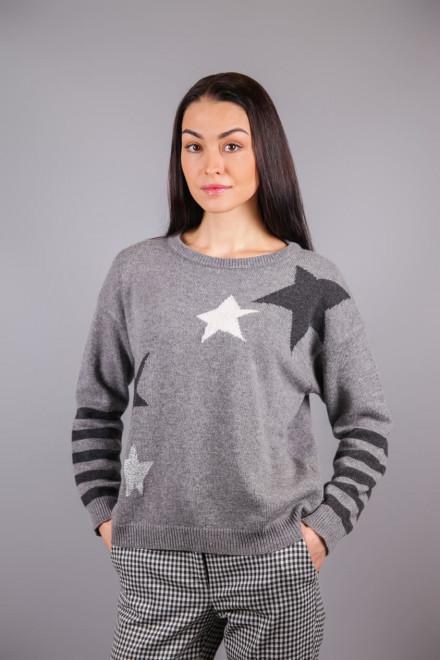 Пуловер женский со звездами и полосами серого цвета Sfizio