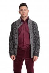 Кардиган мужской серого цвета крупной вязки на пуговицах Maerz