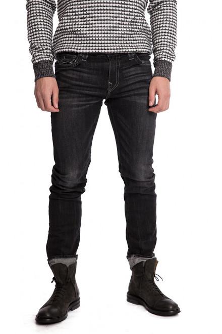 Джинсы мужские черного цвета с потертостями и заломами True Religion