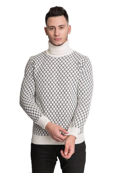 Пуловер мужской белого цвета в серый принт Hamaki-Ho