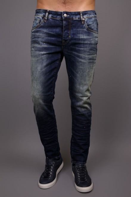 Джинсы мужские (дестрой) темно-синего цвета с потертостями и заломами Hamaki-Ho