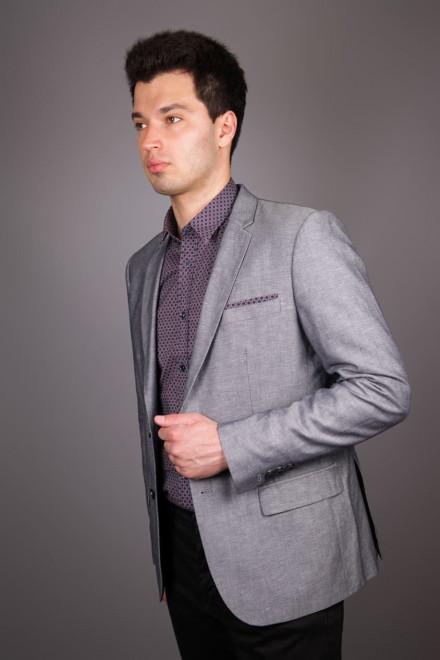 Пиджак мужской из костюмной ткани серого цвета однобортный на две пуговицы Antony Morato