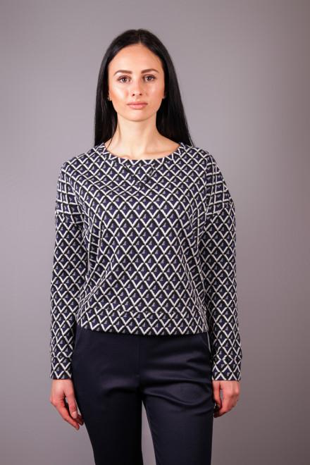 Пуловер женский укороченной длины со спущенной линией плеч в геометрический принт Rich&Royal