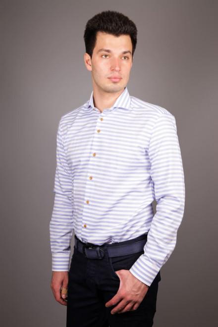 Рубашка мужская белого цвета в голубую полоску R-2 Amsterdam