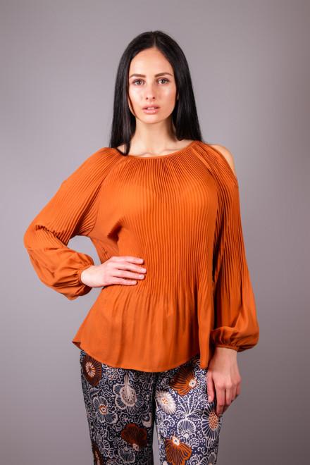 Блуза женская с длинным рукавом терракотовая Kocca