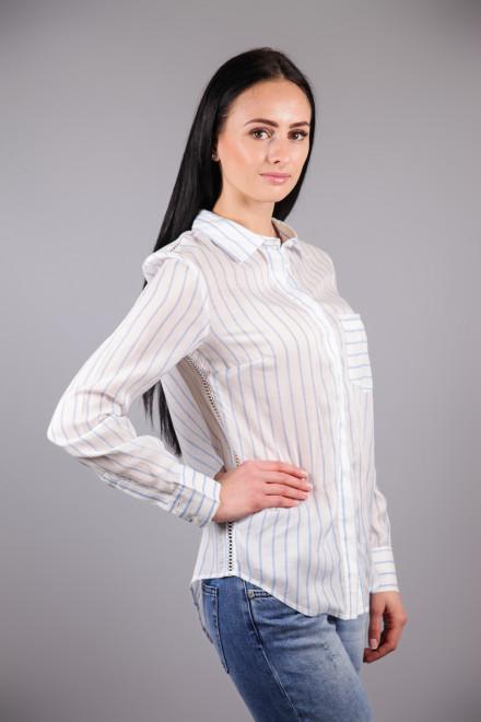 Рубашка женская с длинным рукавом белая в голубую полоску Kocca