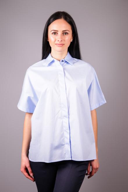 Рубашка женская с коротким рукавом голубого цвета с лентой на спине Kocca
