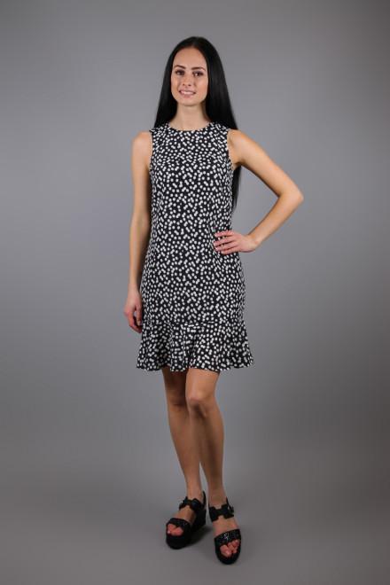 Платье без рукавов приталенное с воланом внизу черное в белый горох Kocca
