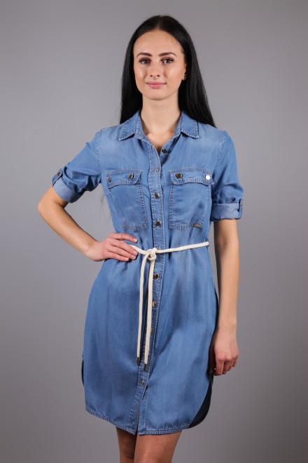 Платье-рубашка женское с четвертным рукавом цвета деним Kocca