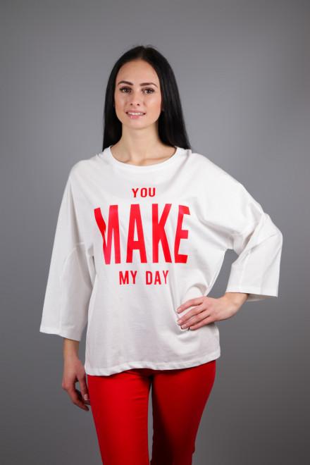 """Футболка женская oversize белого цвета с надписью """"You make my day"""" Kocca"""