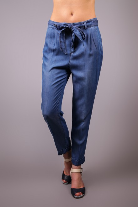 Джинсы женские летние зауженные синие Kocca